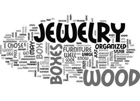 WOOD JEWELRY BOXES TEXT WORD CLOUD CONCEPT Illustration