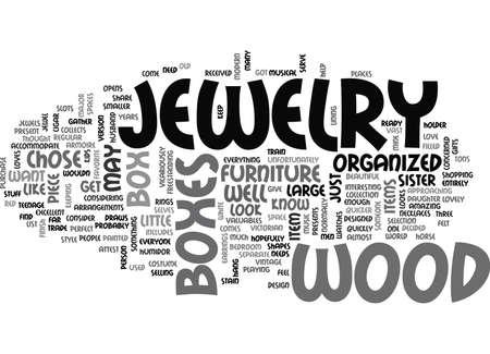 WOOD JEWELRY BOXES TEXT WORD CLOUD CONCEPT Ilustração