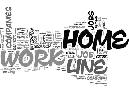 WORK AT HOME ON LINE TEXT WORD CLOUD CONCEPT