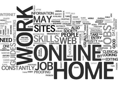 WORK AT HOME ONLINE JOBS TEXT WORD CLOUD CONCEPT Illustration