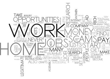 WORK AT HOME SCAMS TEXT WORD CLOUD CONCEPT Stock Vector - 79580737