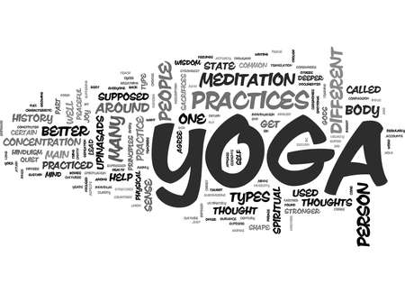YOGA PRACTICES AND HISTORY TEXT WORD CLOUD CONCEPT Ilustração