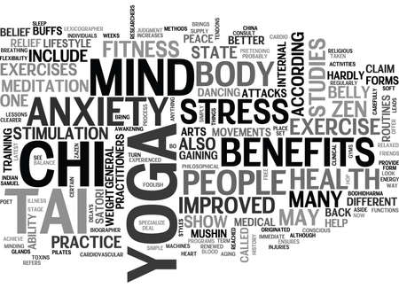 YOGA TAI CHI AND THE STATE OF ZEN TEXT WORD CLOUD CONCEPT