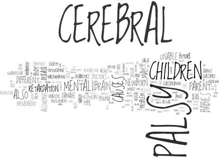 retardation: YOUR HELPFUL GUIDE TO CEREBRAL PALSY TEXT WORD CLOUD CONCEPT