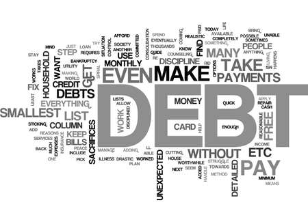 YOUR GUIDE ON HOW TO BE DEBT FREE TEXT WORD CLOUD CONCEPT