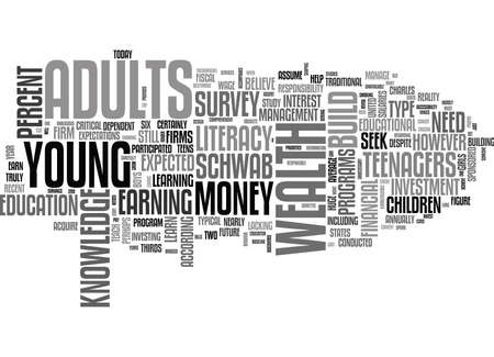 젊은 성인은 부유층을 찾아야합니다. 금융 문 제 부 II 부 텍스트 단어 구름 개념 일러스트
