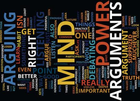 ARGUMENTEN STEAL MIND POWER Tekst Achtergrond Word Cloud Concept