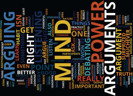 ARGUMENTS STEAL MIND POWER Text Background Word Cloud Concept