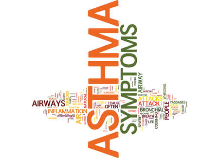defines: ASTHMA AND ITS SYMPTOMS Text Background Word Cloud Concept