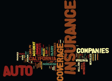 AUTO INSURANCE COMPARISON BY STATE Text Background Word Cloud Concept Иллюстрация