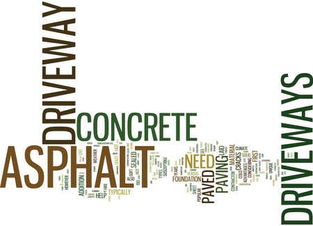 ASPHALT VERSUS CONCRETE DRIVEWAYS WHICH IS BEST Text Background Word Cloud Concept Illustration