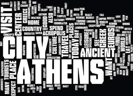 ATHENS HOTEL GUIDE Text Background Word Cloud Concept Illustration