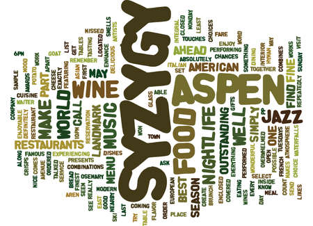 ASPEN NIGHTLIFE SYZYGY Text Background Word Cloud Concept 向量圖像
