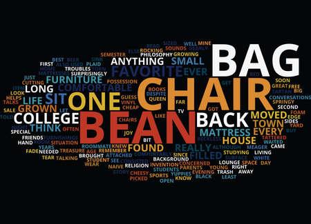 어린이를위한 콩 가방 의자 텍스트 배경 워드 클라우드 개념