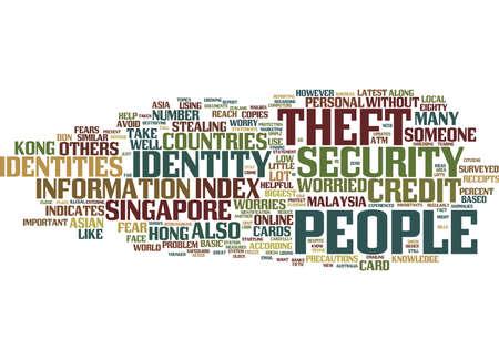 アイデンティティ盗難テキスト背景単語雲概念を心配したアジア諸国  イラスト・ベクター素材