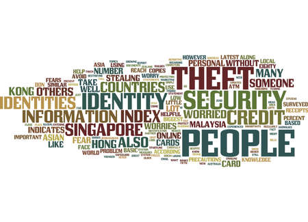 ASIAN COUNTRIES WORRIED ABOUT IDENTITY THEFT Text Background Word Cloud Concept
