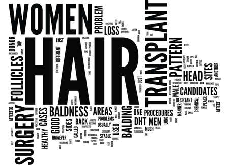 ARE WOMEN GOOD CANDIDATES FOR HAIR TRANSPLANT SURGERY Text Background Word Cloud Concept Illustration