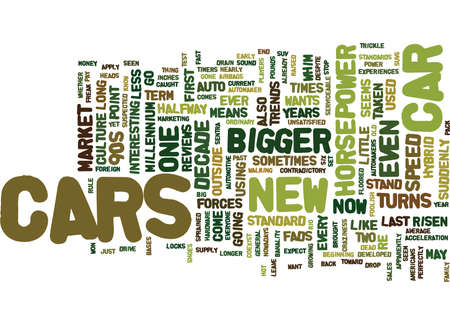 decade: AUTO TRENDS Text Background Word Cloud Concept