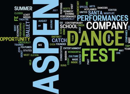 ASPEN NIGHTLIFE ASPEN DANCE FEST 텍스트 배경 Word 클라우드 개념
