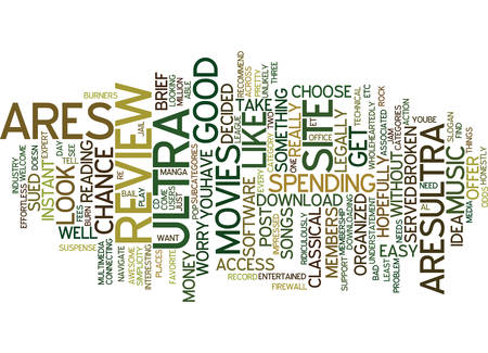 ARES ULTRA REVIEW GOOD OR BAD Text Background Word Cloud Concept