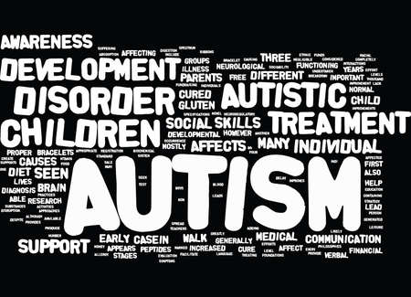 developmental disorder: AUTISM IS THERE A CURE IN SIGHT Text Background Word Cloud Concept Illustration
