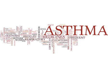 ASTHMA EEN ADEMHALING VAN DE ADEMHALINGSWOORD Achtergrond Word Cloud Concept