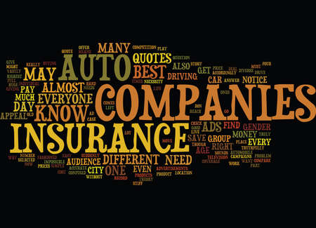 AUTO INSURANCE COMPANIES Text Background Word Cloud Concept Illustration
