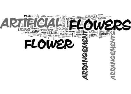 ARTIFICIAL FLOWER ARRANGEMENTS Text Background Word Cloud Concept