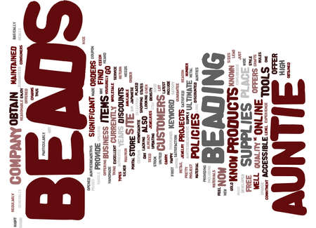 AUNTIES BEADS Text Background Word Cloud Concept Çizim
