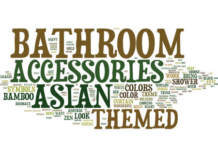 ASIAN THEMED BATHROOM ACCESSORIES Text Background Word Cloud Concept Çizim