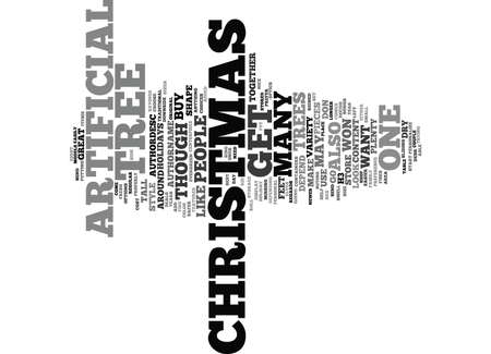 ARTIFICIAL CHRISTMAS TREES Text Background Word Cloud Concept Иллюстрация