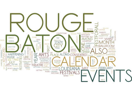 BATON ROUGE CAMPGROUNDS Text Background Word Cloud Concept Çizim