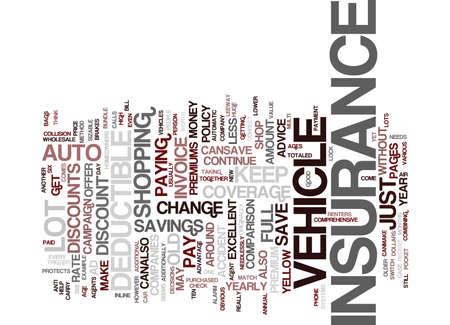 자동 보험 텍스트 배경 단어 구름 개념