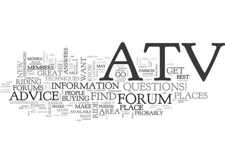 ATV FORUMS Text Background Word Cloud Concept Stock Vector - 82570396
