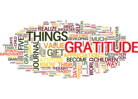 denial: ATTITUDES AND GRATITUDE Text Background Word Cloud Concept Illustration