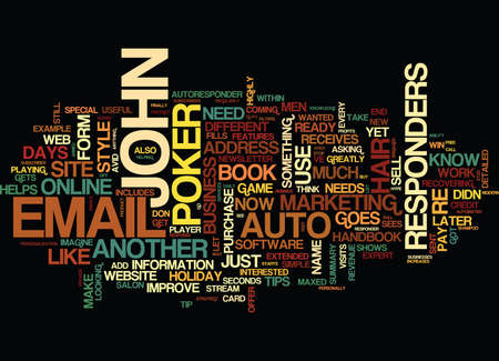 AUTO RESPONDERS THE MARKETERS MAGIC TRICK Text Background Word Cloud Concept Vettoriali
