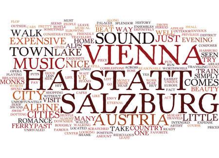 AUSTRIA VIENNA SALZBURG HALSTATT AND SOUND OF MUSIC Text Background Word Cloud Concept