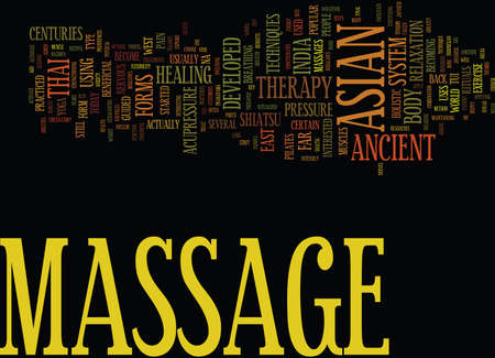 ASIAN MASSAGE THERAPY Text Background Word Cloud Concept Illustration