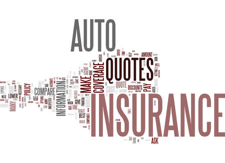 AUTO INSURANCE QUOTES Text Background Word Cloud Concept Çizim