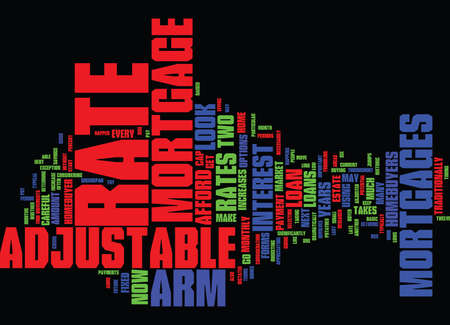 homebuyer: ARM ADJUSTABLE RATE MORTGAGES Text Background Word Cloud Concept