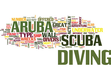 exciting: ARUBA SCUBA Text Background Word Cloud Concept Illustration