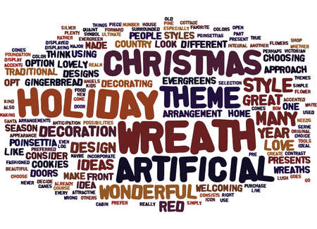 ARTIFICIAL CHRISTMAS WREATH Text Background Word Cloud Concept