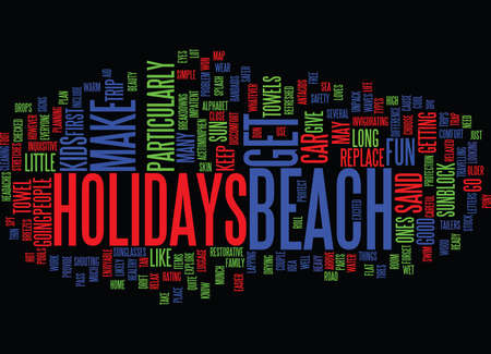 BEACH HOTELS Text Background Word Cloud Concept