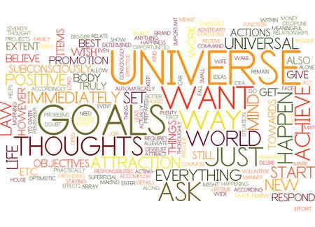 ATTRACT HET UNIVERSE EN VERKOOP JE GOALEN Tekst Achtergrond Word Cloud Concept