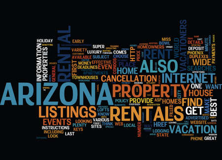 ARIZONA THE HOST OF GREAT EVENTS Text Background Word Cloud Concept