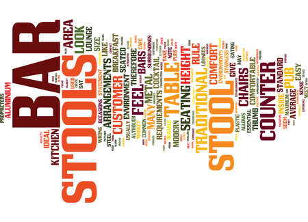 made to order: BAR STOOLS MADE FROM VARIOUS METALS Text Background Word Cloud Concept