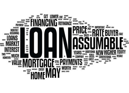 resale: ASSUMABLE LOANS AND RESALE VALUE Text Background Word Cloud Concept