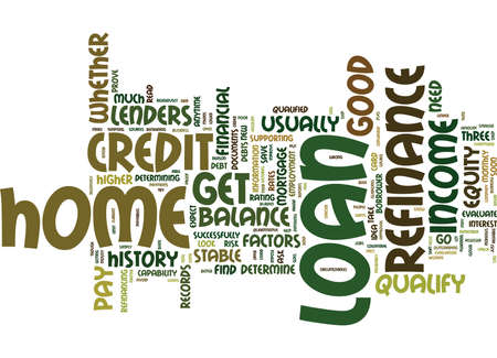 ARE YOU QUALIFIED FOR A HOME LOAN REFINANCE Text Background Word Cloud Concept Illustration