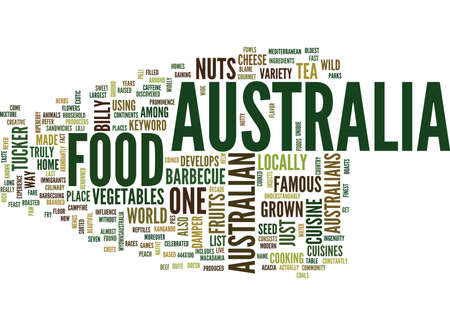 AUSTRALIA FOOD Text Background Word Cloud Concept