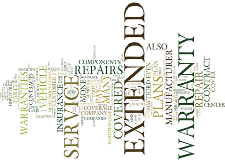 AUTO REPAIR INSURANCE EXTENDED WARRANTIES MYTHS AND FACTS Text Background Word Cloud Concept Ilustração